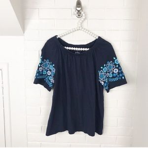 {Talbots} Off The Shoulder Embroidered Blouse